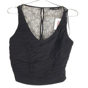 ⭐ NWT Zara Lace Back Black Blouse Crop Top